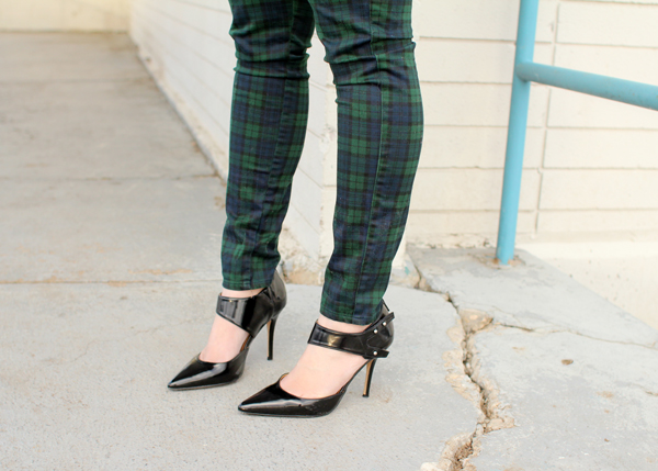 Uniqlo plaid pants and Forever 21 heels
