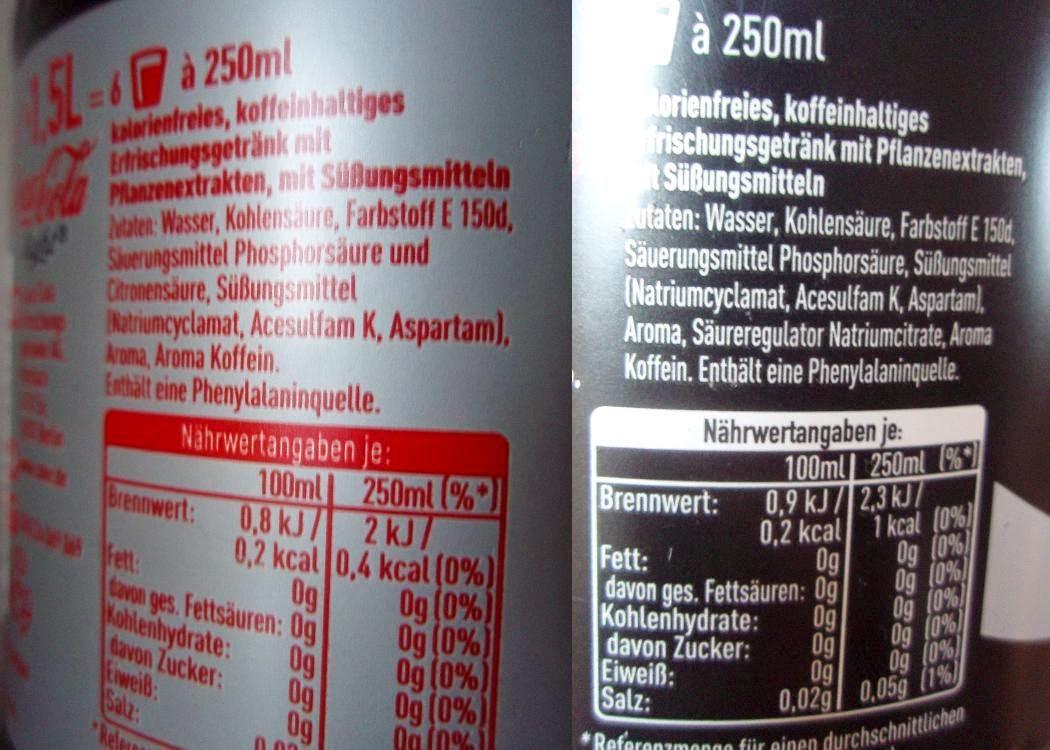 Cola Light Zutaten, Coke Zero Zutaten