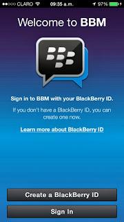 Inicio del la aplicación BBM