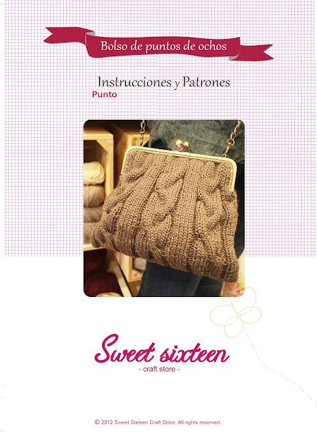 Kit, patrón e instrucciones bolso tricot con ochos