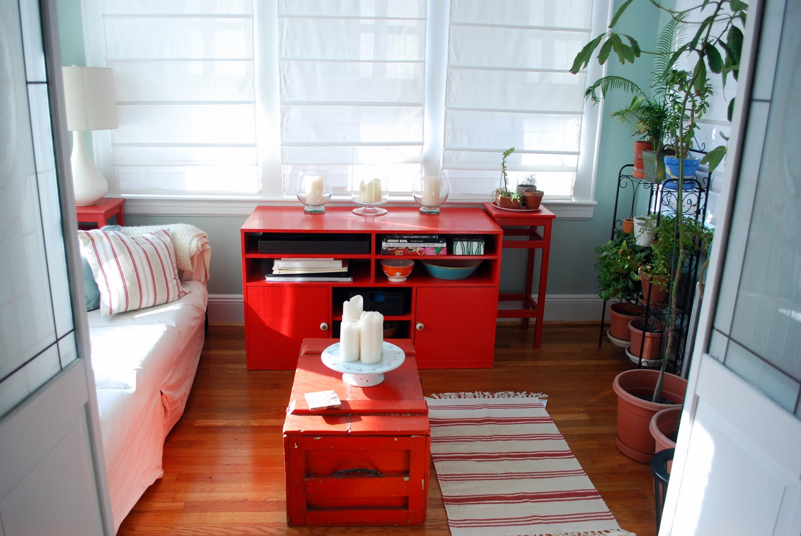 Red And Blue Living Room In The Little Yellow House House Tour