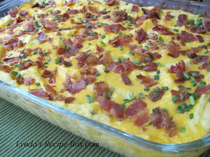 Mashed Potato Casserole with Bacon, Cheese and Chives
