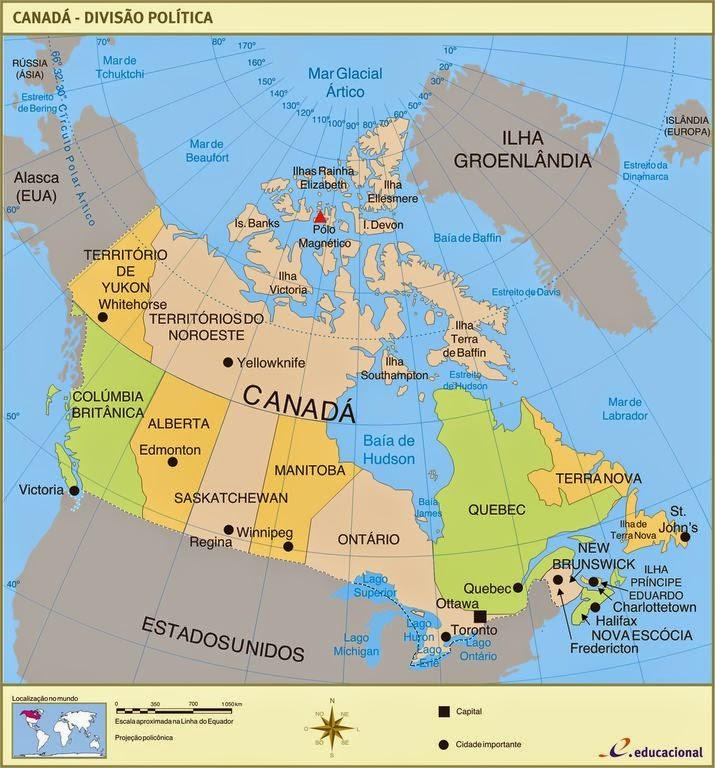 Provincias Do Canada Mapa - Canada mapa