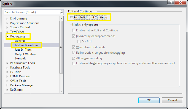 Tools Options Debugging Edit And Continue
