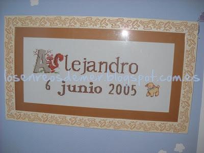 Nombre Alejandro realizado a punto de cruz