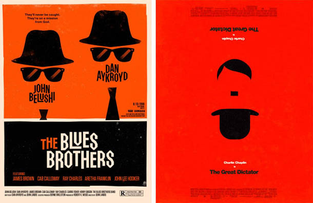 Posters de Cinema minimalistas - Olly Moss - The Blues Brothers - O Grande Ditador