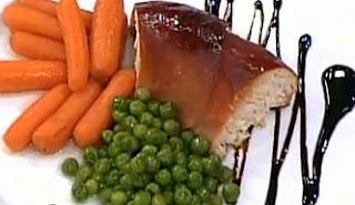 Receta Flan de pollo acompañado de jamón