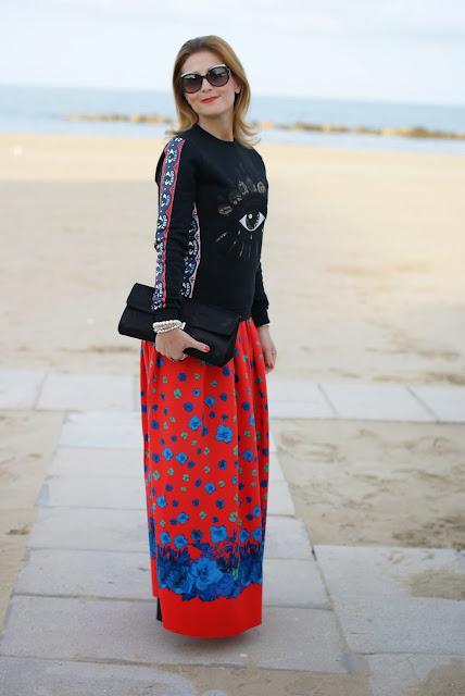 Kenzo eye jumper, Asos maxi flower skirt, felpa occhio Kenzo, Fashion and Cookies, fashion blogger
