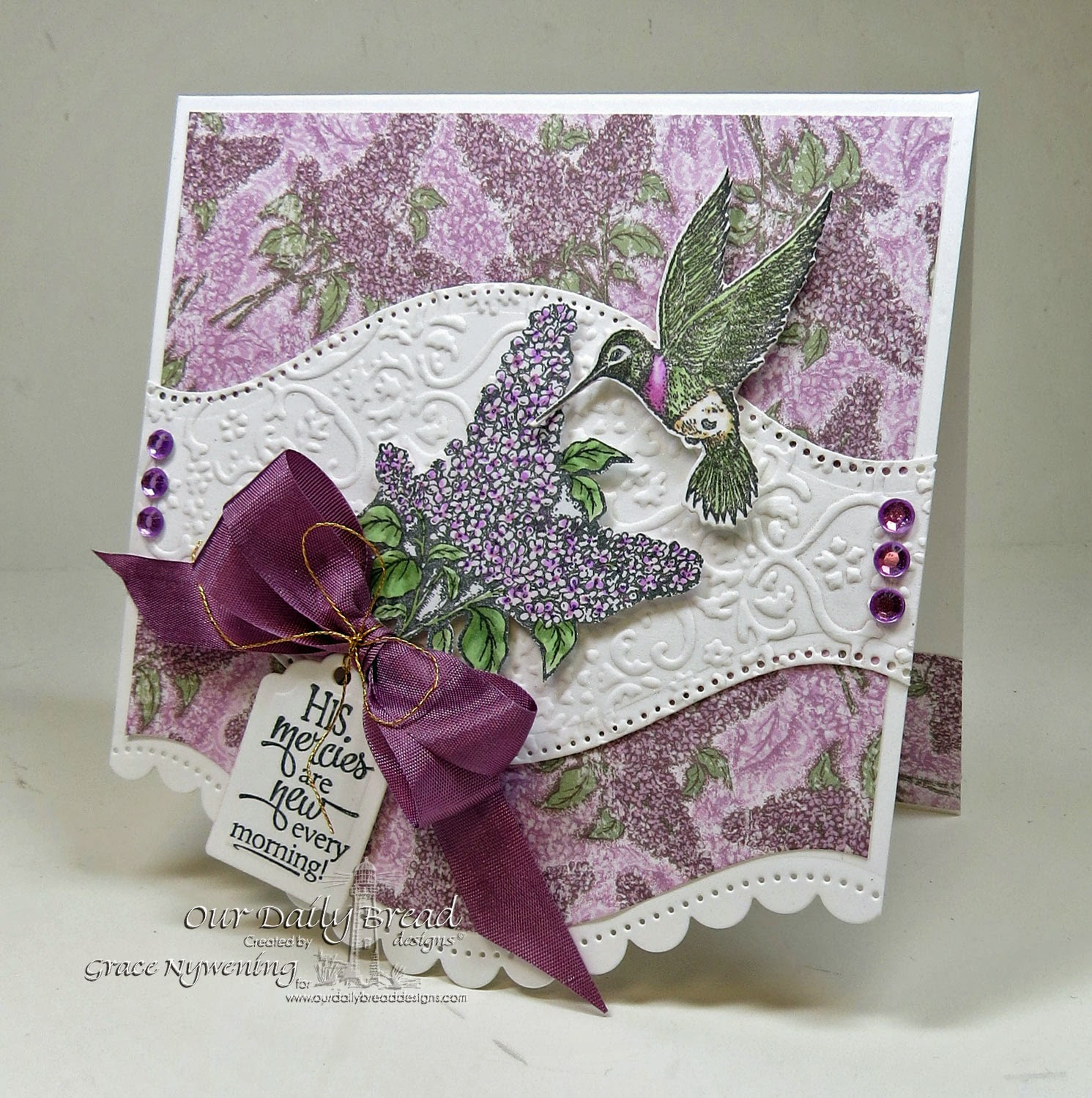 Our Daily Bread designs stamps Sentiment Collectiion 2, Lilac, ODBD Blooming Garden Paper Colection, ODBD Hummingbird single stamp and ODBD die, desisnged by Grace Nywening