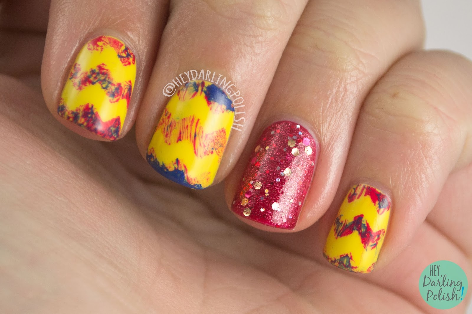 nails, nail art, nail polish, tri polish challenge, red, blue, yellow, chevron, hey darling polish