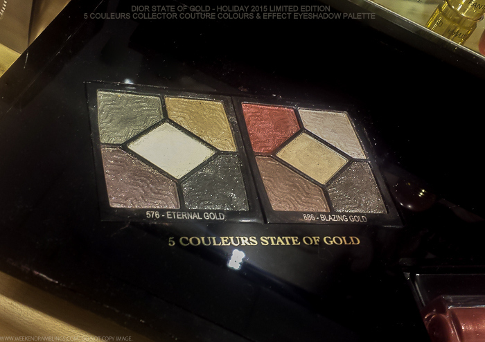 Dior State of Gold Holiday 2015 Makeup Collection 5 Couleurs Eyeshadow Palettes 576 Eternal Gold 886 Blazing Gold