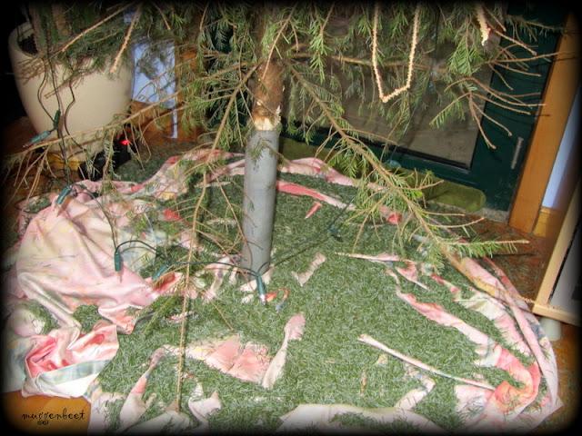 kerstboom met afgevallen naalden