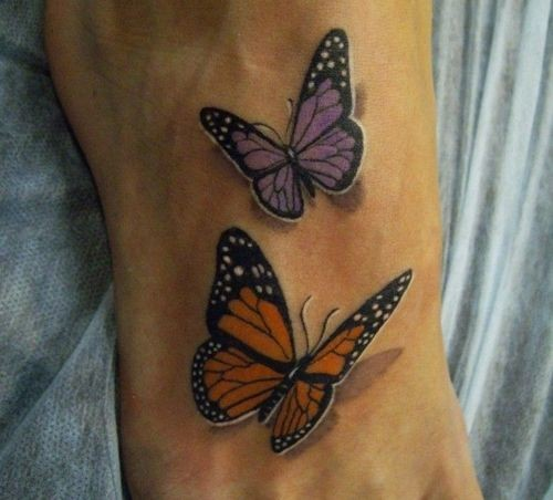 Tattoo butterfly on leg