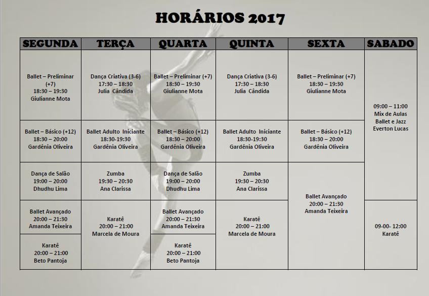 HORÁRIOS 2017