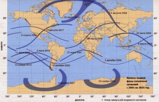 Тень полной фазы солнечных затмений с 2001 по 2025 год