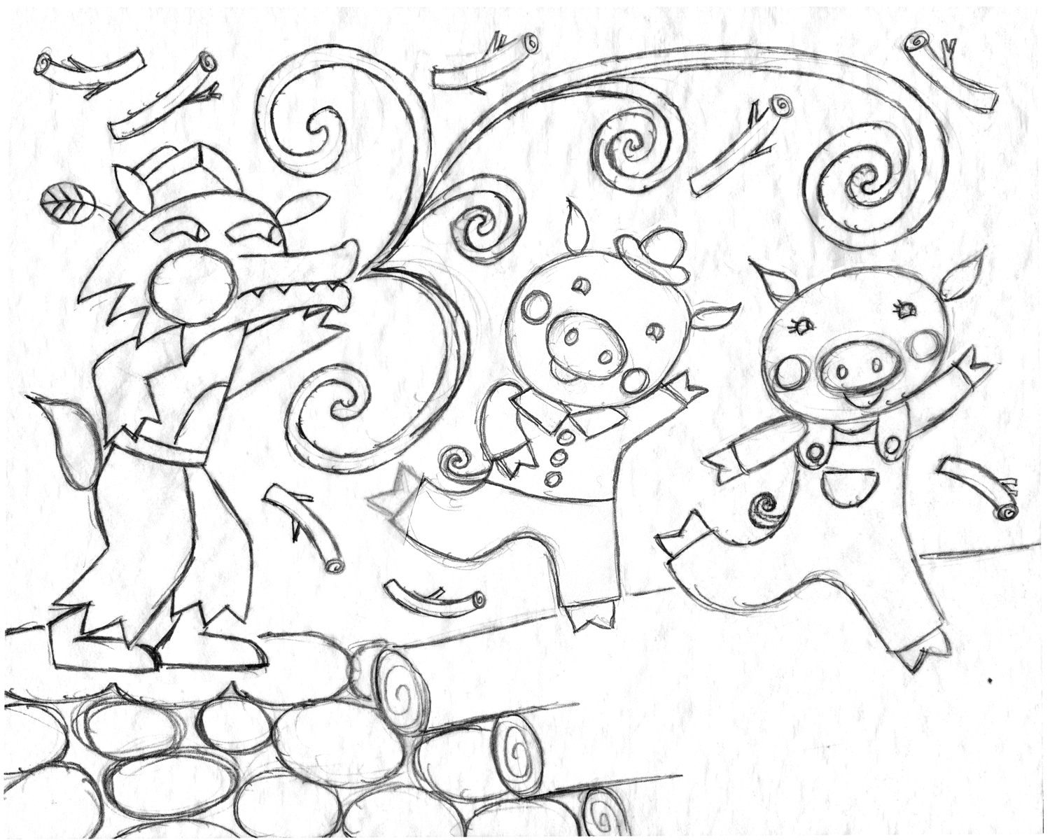 Coloring pages 3 little pigs - Three Little Pigs Sketch