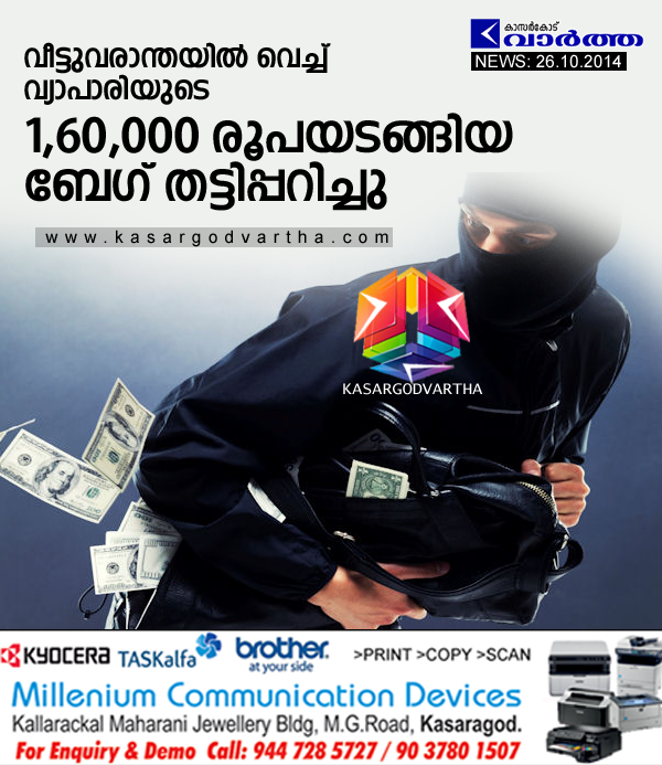 Kasaragod, Kerala, Kanhangad, Robbery, Bag, Night, Cash, Town, Police, Case, Complaint,