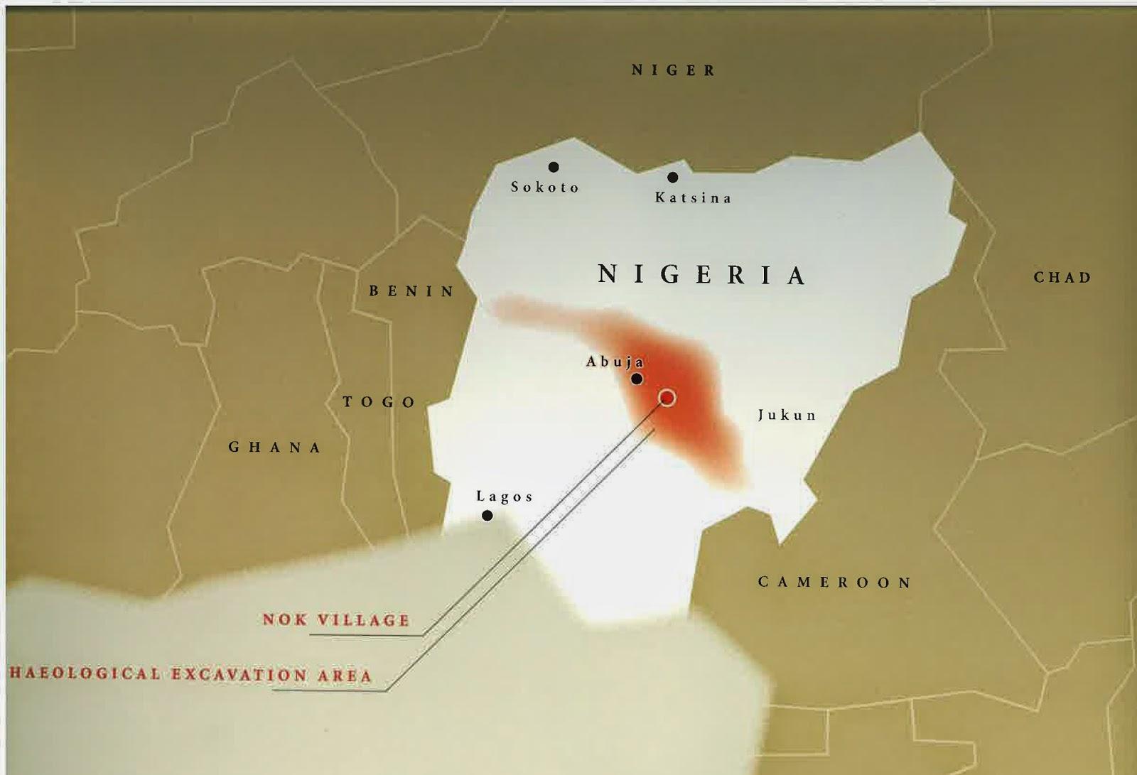 MAPA%2BNOK%2B1 - Los Nok: El Enigma de la cultura más antigua del arte subsahariano: El descubrimiento
