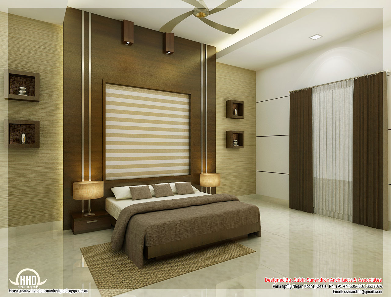 Beautiful bedroom interior designs kerala house design for Bedroom wallpaper designs india