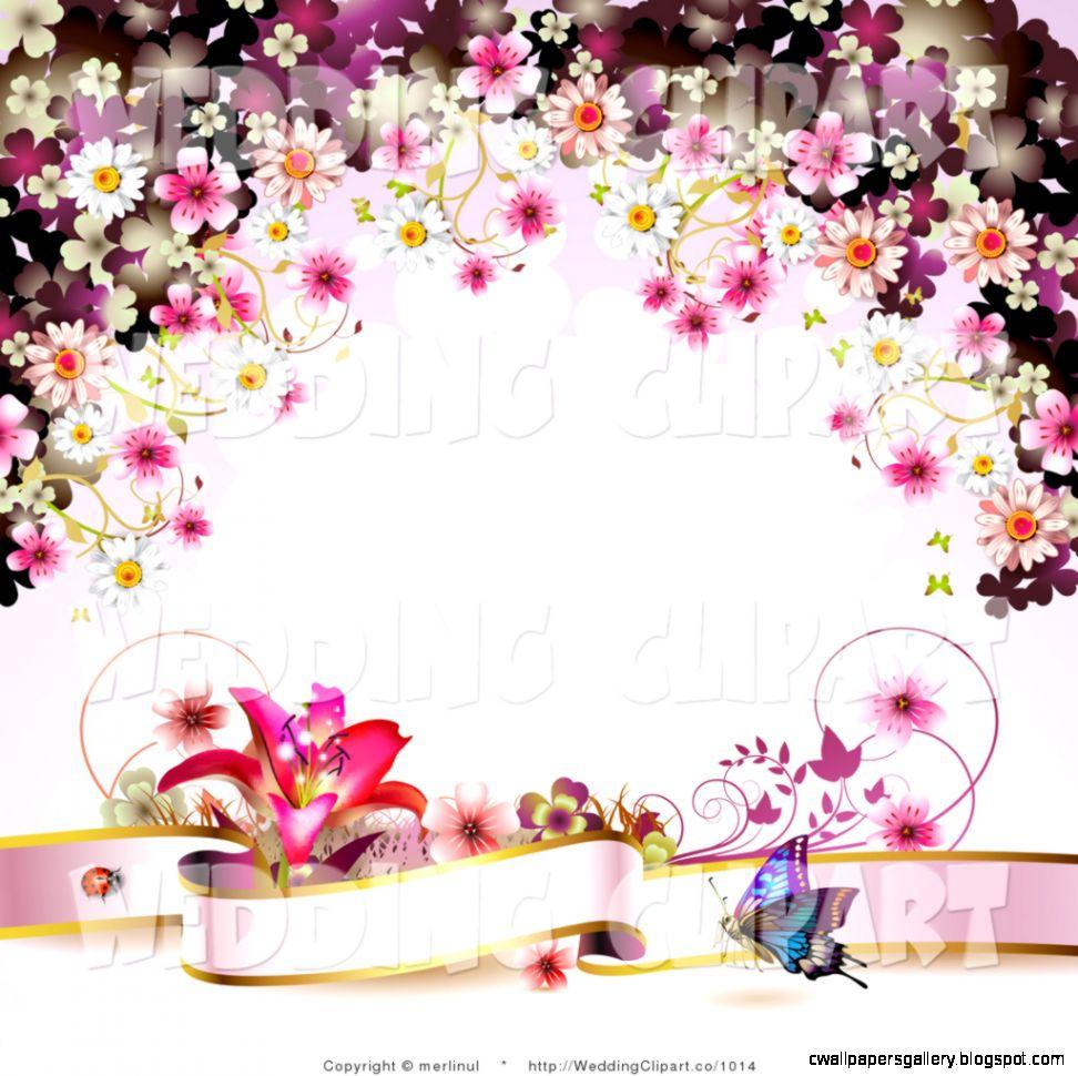 Pink Butterfly Border Clip Art Banner