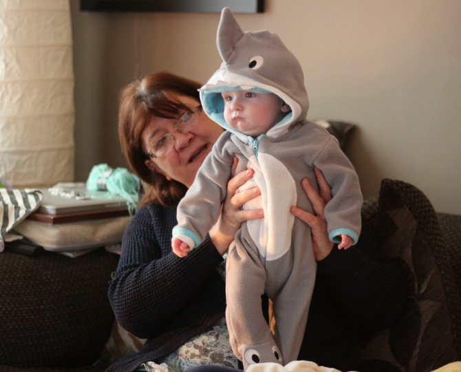 Squidge in a shark outfit