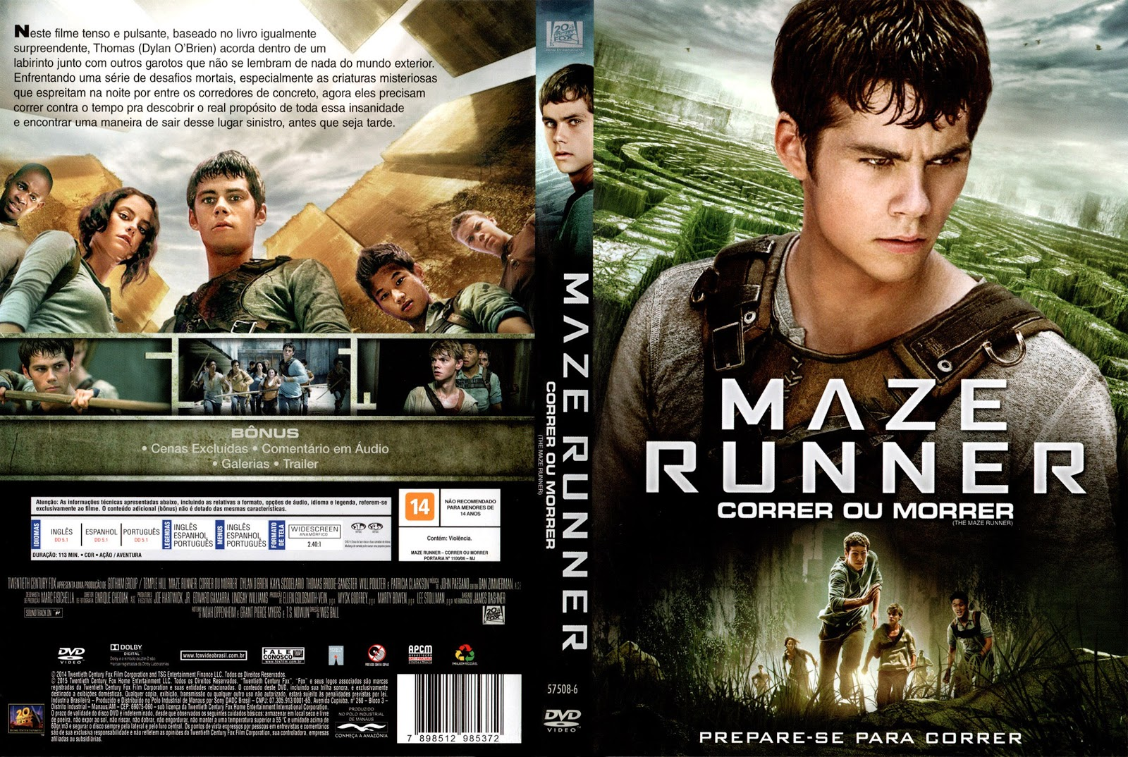 Capa DVD Maze Runner Correr Ou Morrer