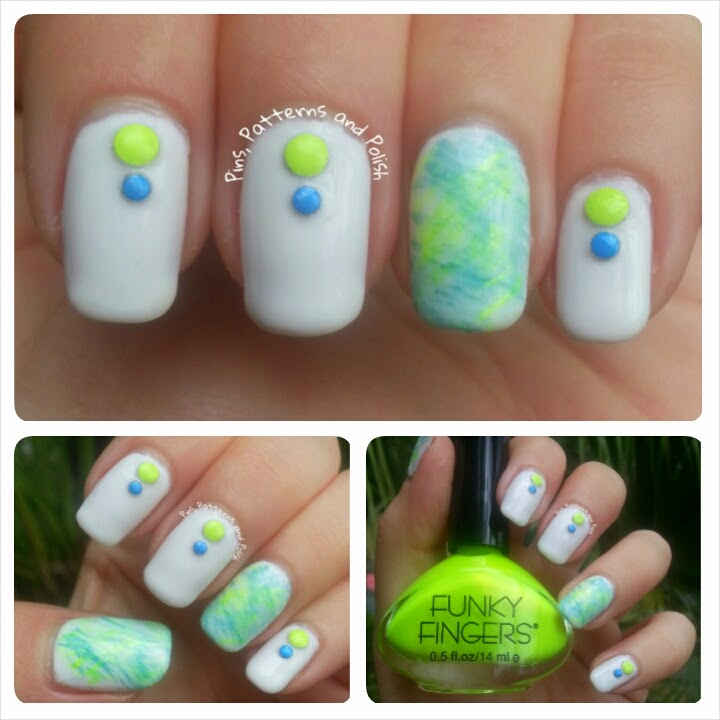 Pins, Patterns and Polish: Neon Fan Brush Nail Art With Studs