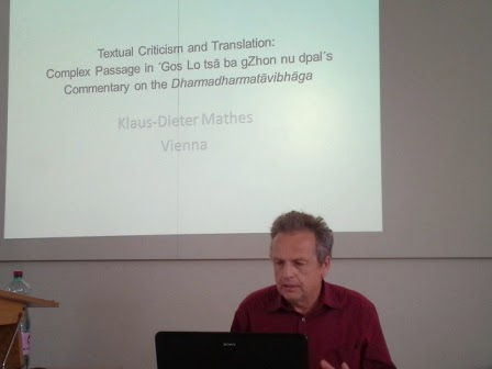 Prof. Klaus-Dieter Mathes during his presentation at the Buddhist Translation workshop.