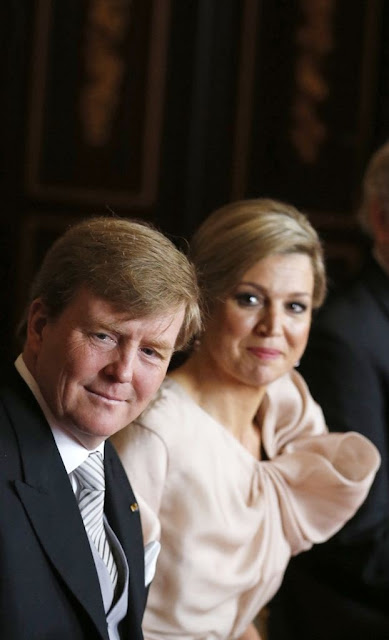 Crown Prince Willem-Alexander and his wife Crown Princess Maxima attend the meeting at the Royal Palace in Amsterdam