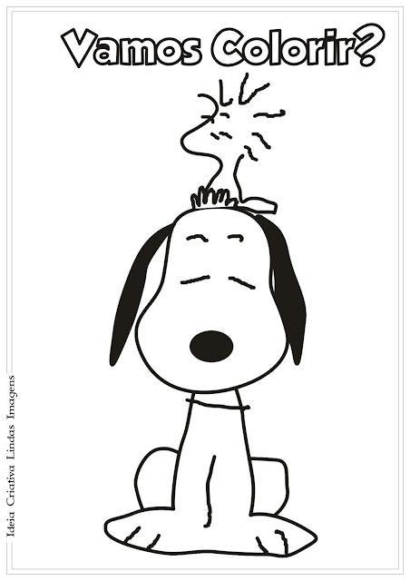 Desenho Snoopy e Woodstock Peanuts para colorir