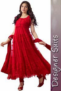 Designer Red Anarkali Suits