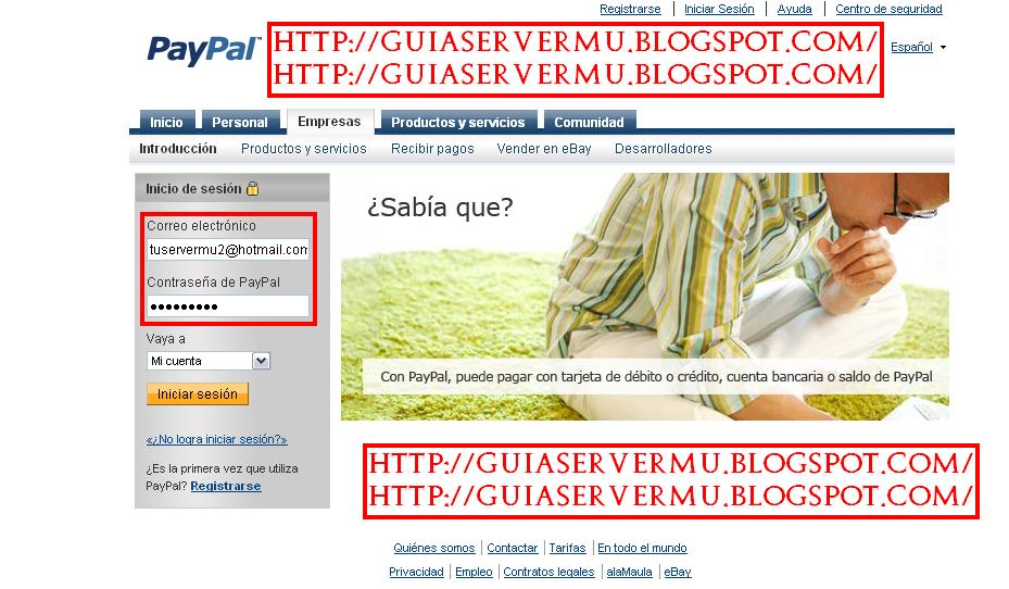 Interfaz de ingreso a Paypal