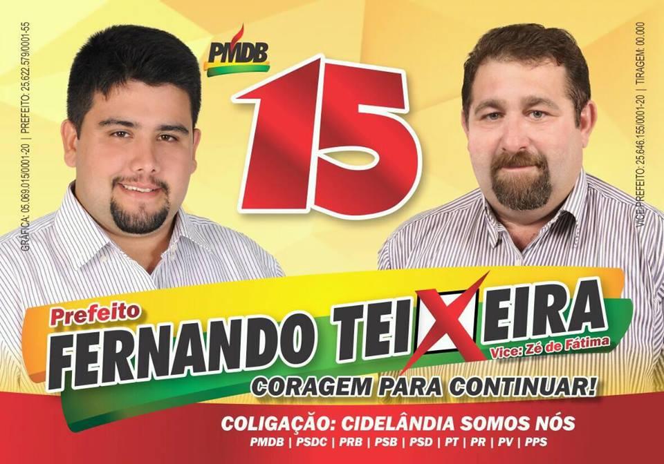 Em Cidelândia, vote 15, Fernando Teixeixa - Prefeito