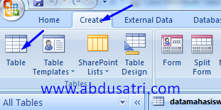 cara mmbuat tabel di database microsoft access