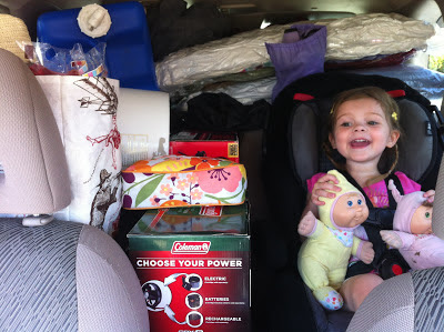 packed car with toddler www.thebrighterwriter.blogspot.com