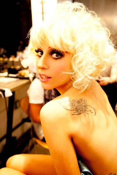 lady gaga tattoos on back. lady gaga tattoos pictures.