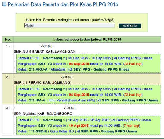 Hasil Pencarian dengan nama peserta PLPG Rayon 114 Unesa 2015