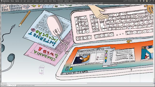 Detalhe da ilustracão acima antes da aplicação do pincel estático tipo flat que produz a textura com riscos.