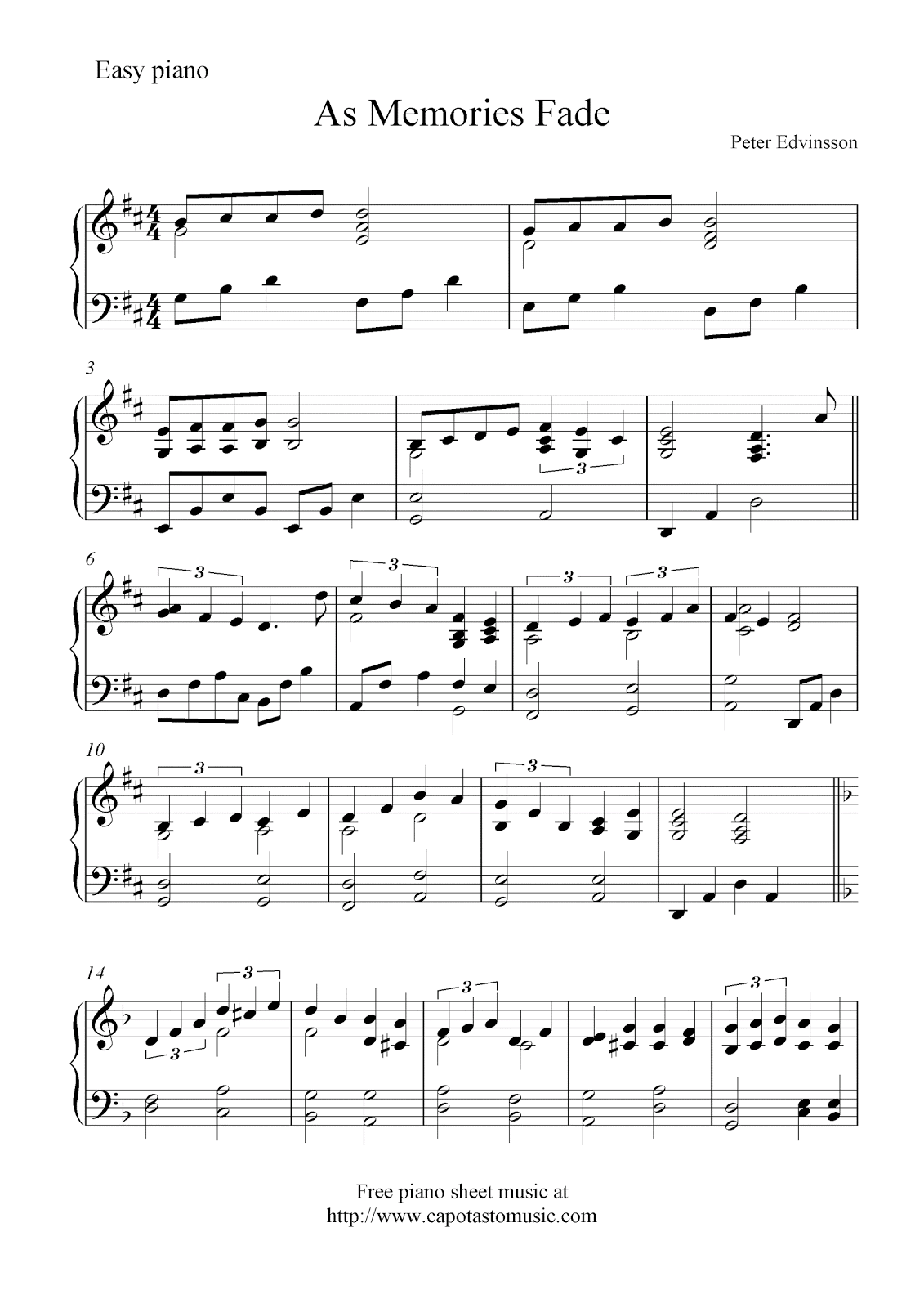 free sheet music for piano blogspot