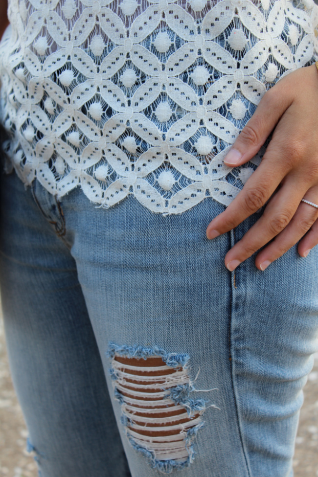lace top and boyfriend jean