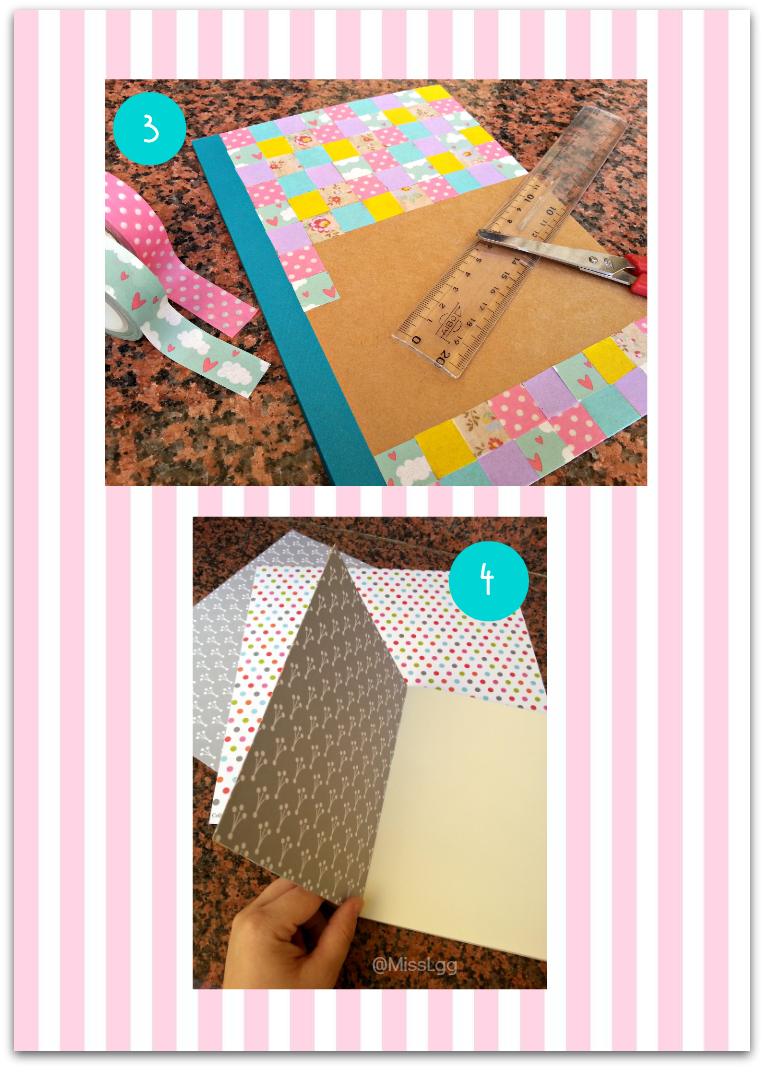 washi tape notebook patchwork libreta washi tape DIY paso a paso patchwork