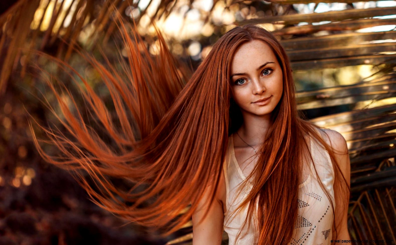 Lovely Girl Portrait Freckles Redhead Hair wallpaper  1680x1050