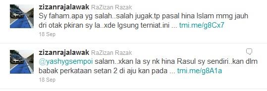Zizan mintak maaf di laman Twitter