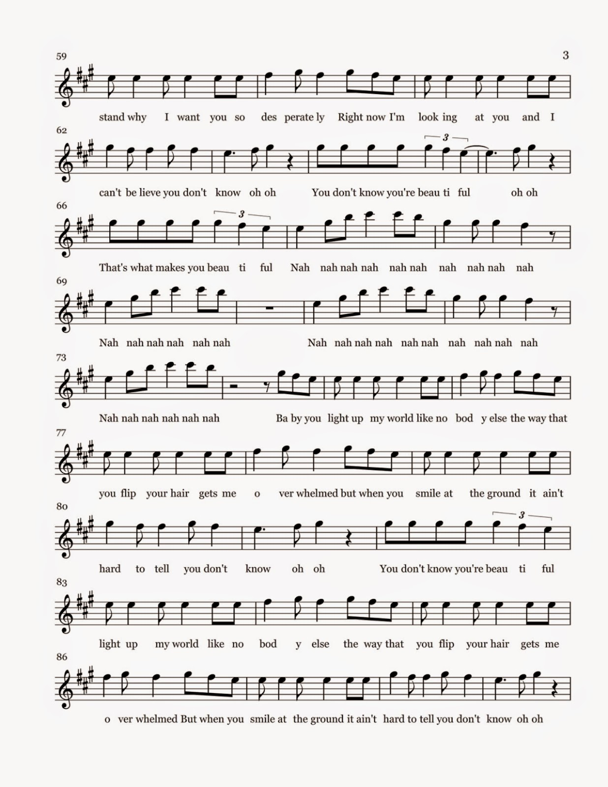 what makes you beautiful sheet music