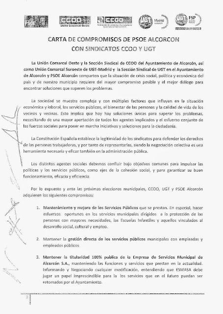 CARTA COMPROMISO PSOE