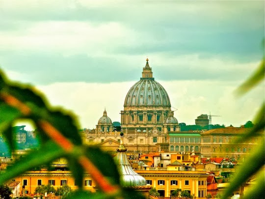 View on the St. Peter's Basilica Dome from the terraces above the Spanish Steps