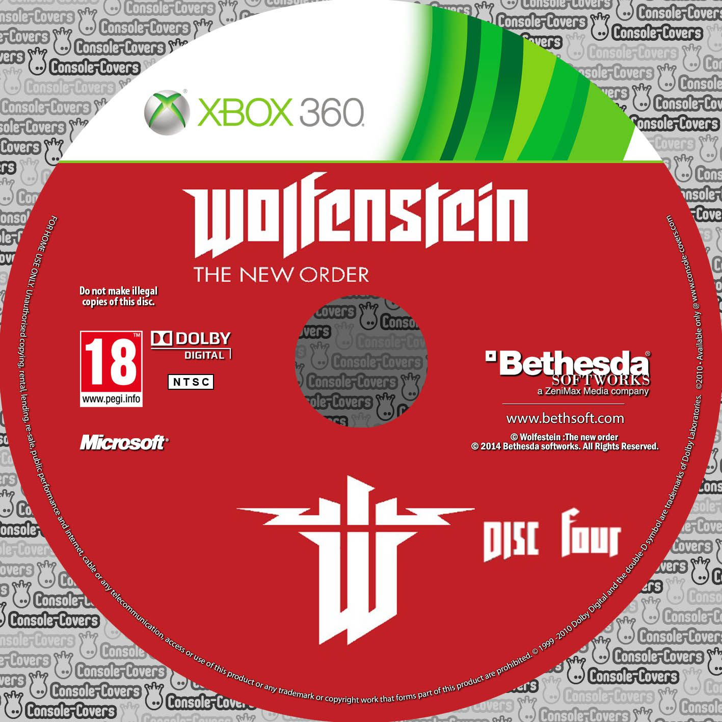 Label Wolfenstein The New Order Disc Four Xbox 360