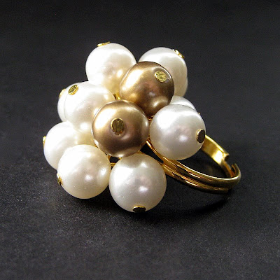 Golden Evening Pearl Cocktail Ring