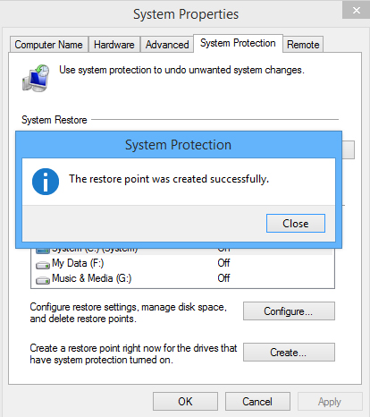 how to create system restore point windows 8