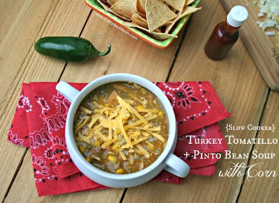 Slow Cooker Turkey Tomatillo and Pinto Bean Soup with Corn